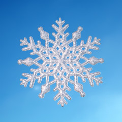 winter background,snowflake on real blue sky background