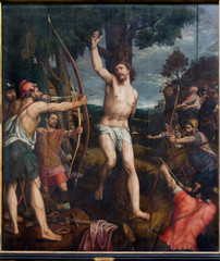 Mechelen - Martyrdom of st. Sebastian pain in cathedral
