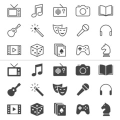 Entertainment thin icons, included normal and enable state.