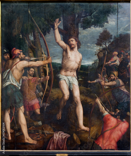 Mechelen - Martyrdom of st. Sebastian pain in cathedral - 59053104