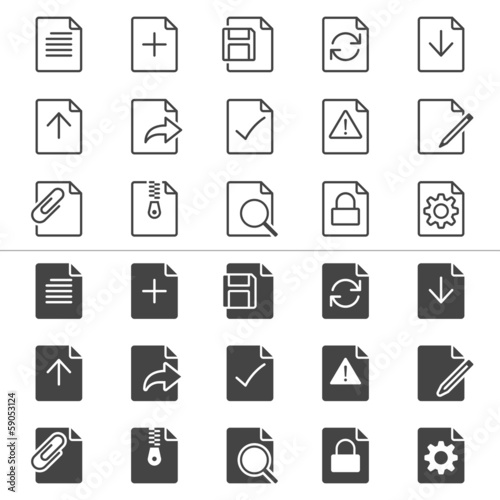 Document thin icons, included normal and enable state.