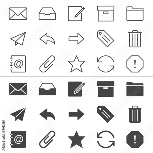 Email thin icons, included normal and enable state.