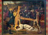 Antwerp - Fresco - Fall of Jesus under cross in cathedral