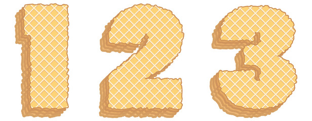 Vector numbers of wafers with cream inside. Numerals 1, 2, 3