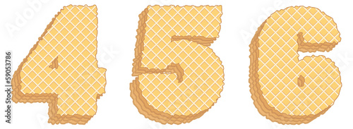 Vector numbers of wafers with cream inside. Numerals 4, 5, 6