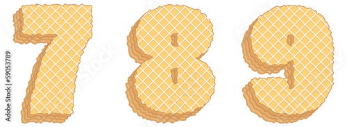 Vector numbers of wafers with cream inside. Numerals 7, 8, 9