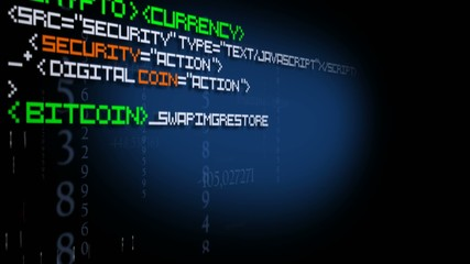 Crypto currency code program text animation digital money 2.0