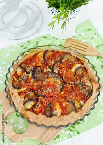 Homemade tart with vegetables