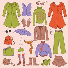 Vector set, retro woman clothes
