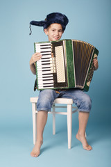 little funny accordion player on blue background
