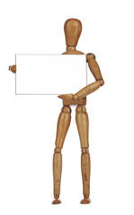 your empty board held by a wooden mannequin