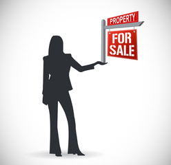 real estate agent and sign. illustration design