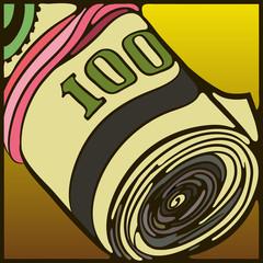 Деньги,рулон, резинка