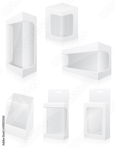transparent packing box set icons vector illustration