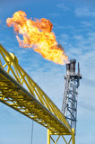 Gas burn or Flare burn in offshore location, Oil and gas process