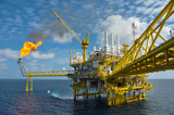 Oil and gas platform with gas burning, Power energy - Fine Art prints