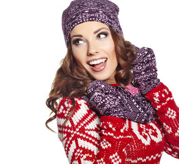beautiful woman in warm clothing on white background