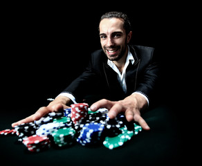 poker player betting everything on one hand
