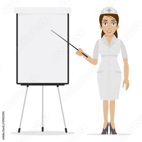 Nurse specifies on flipchart