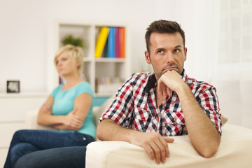 Unhappy couple have problems in relationship