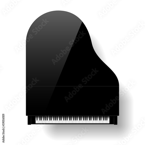 Black grand piano top view - 59056189