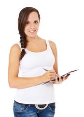 Attraktive junge Frau macht sich Notizen