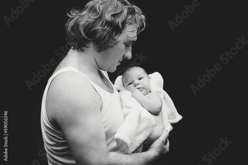 Father with newborn son