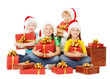 Christmas kids holding presents. Santa helpers with gift box