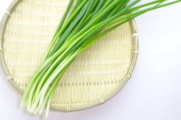beautiful spring onions on a white background
