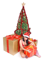 Mrs. Claus with gift boxes and Christmas tree..