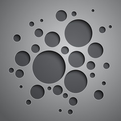 Abstract background with black and grey circles