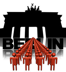Lines of people with brandenburg gate Berlin illustration