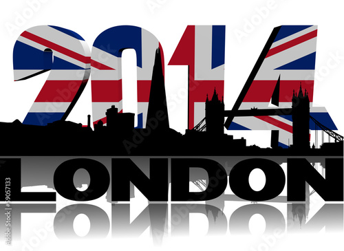 London skyline with 2014 flag text illustration