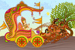 vector illustration of King riding Horse Chariot