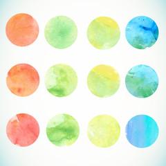 Watercolor circle design elements