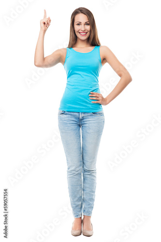 Attractive woman pointing finger