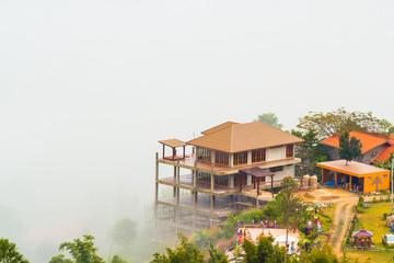 house with fog