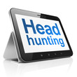 Business concept: Head Hunting on tablet pc computer