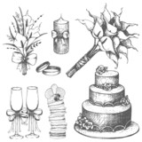 Vector collection of wedding hand drawn elements