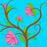 vector illustration of flower in spring background