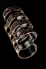 Handmade Turkish Bangles isolated black backgraund