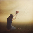 Leinwanddruck Bild - Woman with broken heart.