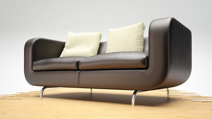Modern leather sofa on wooden planks