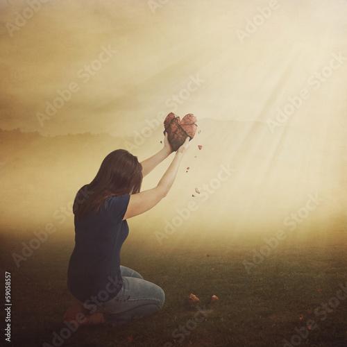 Leinwanddruck Bild Woman with broken heart.