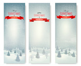 Christmas winter landscape banners. Vector.
