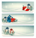 Christmas winter banners with presents. Vector.