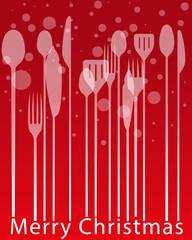 Menù Natale, posate biglietto pranzo cena invito