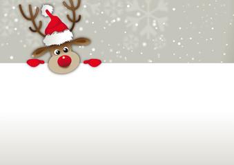 rednosed reindeer copy space, Greetingcard, voucher