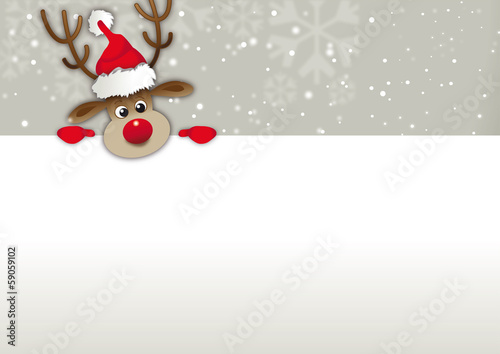 rednosed reindeer copy space, Greetingcard, voucher