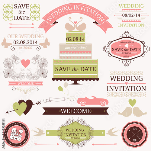 Vector collection of decorative wedding design elements.